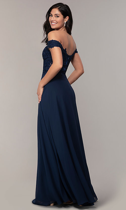 Image of long lace-bodice off-shoulder sweetheart prom dress. Style: DQ-2492 Back Image