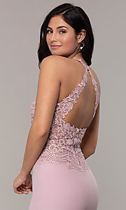 Image of rhinestone-embroidered-bodice long prom dress. Style: DQ-2787 Detail Image 7