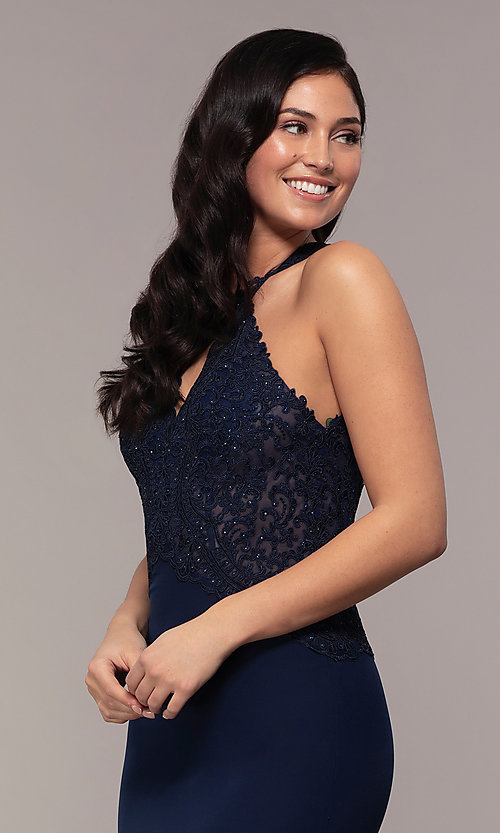 Image of rhinestone-embroidered-bodice long prom dress. Style: DQ-2787 Detail Image 1