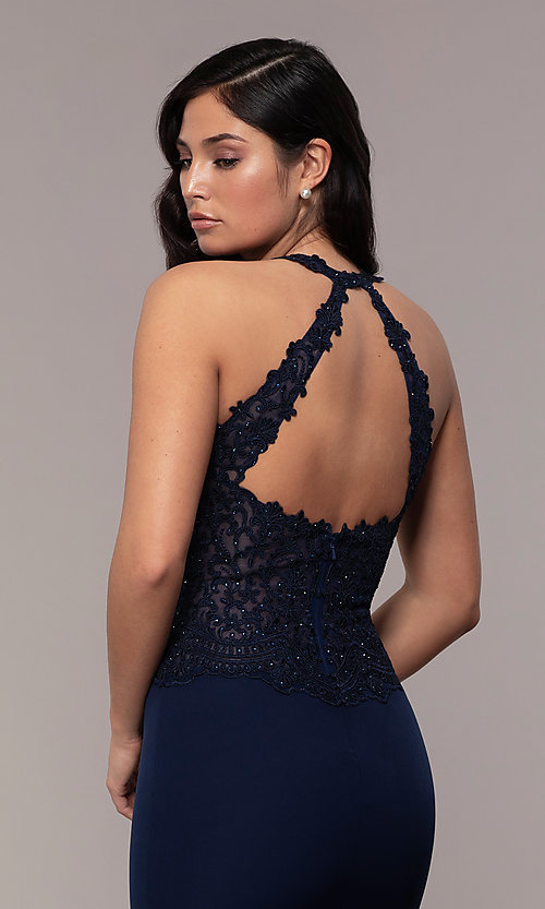 Image of rhinestone-embroidered-bodice long prom dress. Style: DQ-2787 Detail Image 2