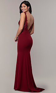 Image of embroidered-bodice long crepe formal prom dress. Style: DQ-2781 Back Image