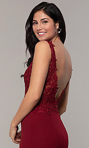 Image of embroidered-bodice long crepe formal prom dress. Style: DQ-2781 Detail Image 2