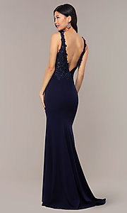 Image of embroidered-bodice long crepe formal prom dress. Style: DQ-2781 Detail Image 5