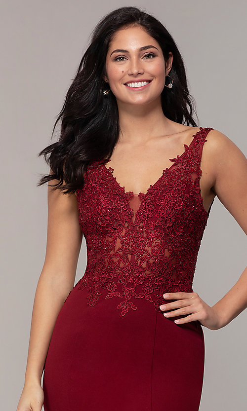 Image of embroidered-bodice long crepe formal prom dress. Style: DQ-2781 Detail Image 1