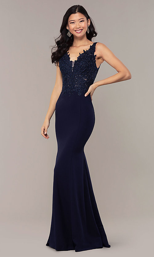 Image of embroidered-bodice long crepe formal prom dress. Style: DQ-2781 Detail Image 4