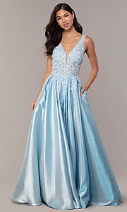 Image of v-neck sparkly long formal prom dress with pockets. Style: DQ-2747 Detail Image 4