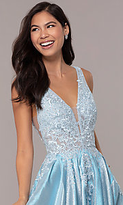 Image of v-neck sparkly long formal prom dress with pockets. Style: DQ-2747 Detail Image 6