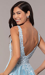Image of v-neck sparkly long formal prom dress with pockets. Style: DQ-2747 Detail Image 7