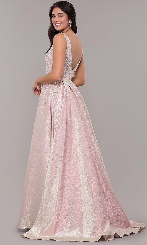Image of v-neck sparkly long formal prom dress with pockets. Style: DQ-2747 Back Image