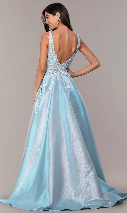 Image of v-neck sparkly long formal prom dress with pockets. Style: DQ-2747 Detail Image 5