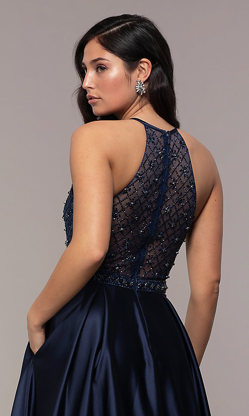 Image of long satin beaded-bodice prom dress. Style: DQ-2744 Detail Image 2
