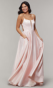 Image of long backless scoop-neck prom dress with pockets. Style: JT-687 Detail Image 7