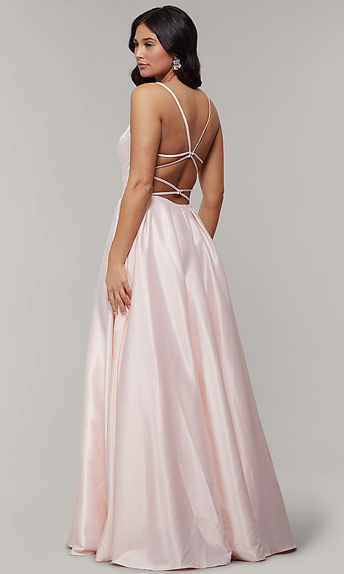 Image of long backless scoop-neck prom dress with pockets. Style: JT-687 Detail Image 4
