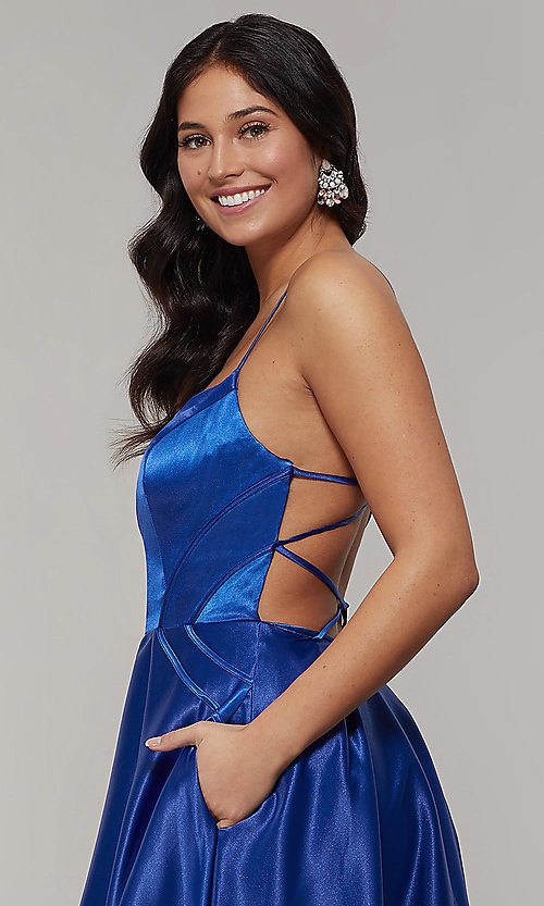 Image of long backless scoop-neck prom dress with pockets. Style: JT-687 Detail Image 2