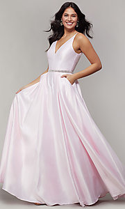 Image of long satin v-neck prom dress with removable belt. Style: JT-696 Detail Image 1