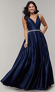 Image of long satin v-neck prom dress with removable belt. Style: JT-696 Front Image