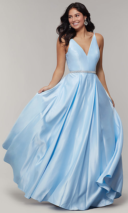 Image of long satin v-neck prom dress with removable belt. Style: JT-696 Detail Image 3