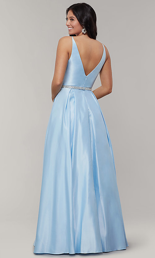 Image of long satin v-neck prom dress with removable belt. Style: JT-696 Detail Image 4