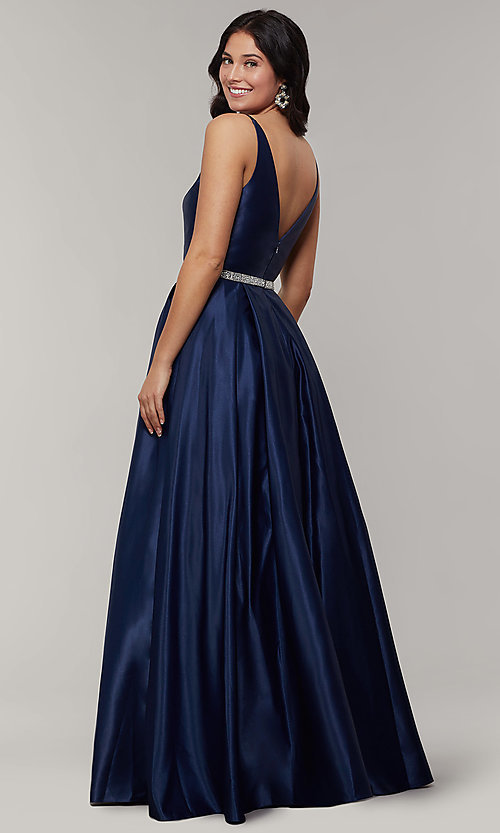 Image of long satin v-neck prom dress with removable belt. Style: JT-696 Back Image