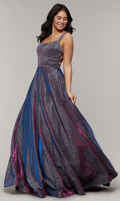 Long Glitter Prom Dress with Pockets