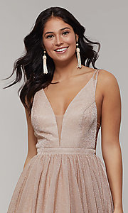 Image of long glitter prom dress with plunging v-neckline. Style: JT-201 Detail Image 1