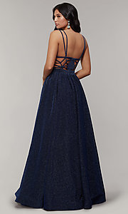 Image of long glitter prom dress with plunging v-neckline. Style: JT-201 Detail Image 2