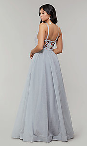 Image of long glitter prom dress with plunging v-neckline. Style: JT-201 Detail Image 5