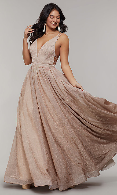 Image of long glitter prom dress with plunging v-neckline. Style: JT-201 Front Image