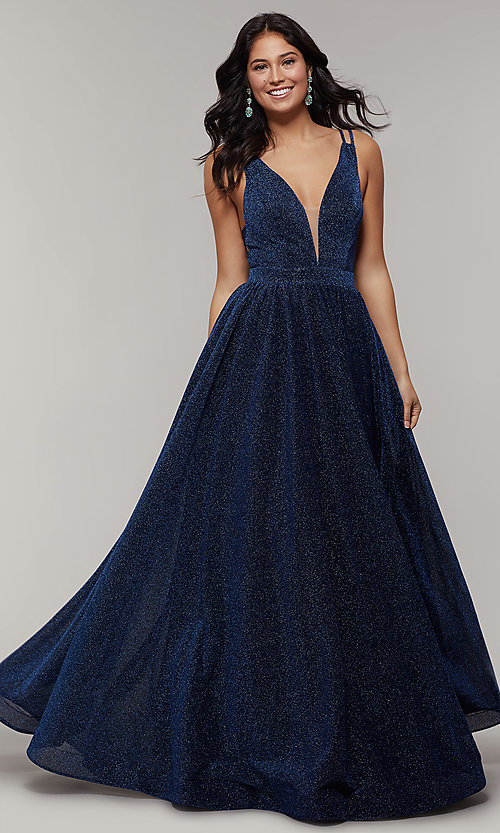 Image of long glitter prom dress with plunging v-neckline. Style: JT-201 Detail Image 3