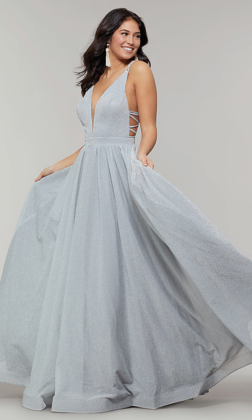 Image of long glitter prom dress with plunging v-neckline. Style: JT-201 Detail Image 6
