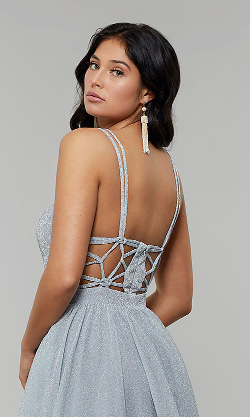 Image of long glitter prom dress with plunging v-neckline. Style: JT-201 Detail Image 7