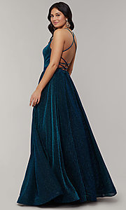Image of strappy-open-back long glitter-crepe prom dress. Style: JT-204 Back Image