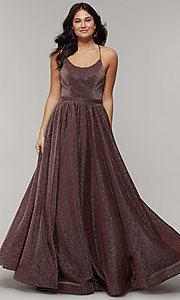 Image of strappy-open-back long glitter-crepe prom dress. Style: JT-204 Detail Image 4