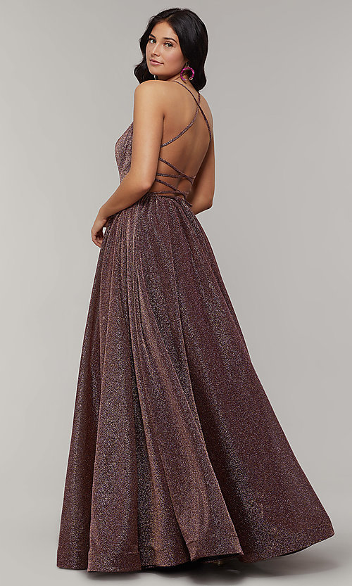 Image of strappy-open-back long glitter-crepe prom dress. Style: JT-204 Detail Image 5