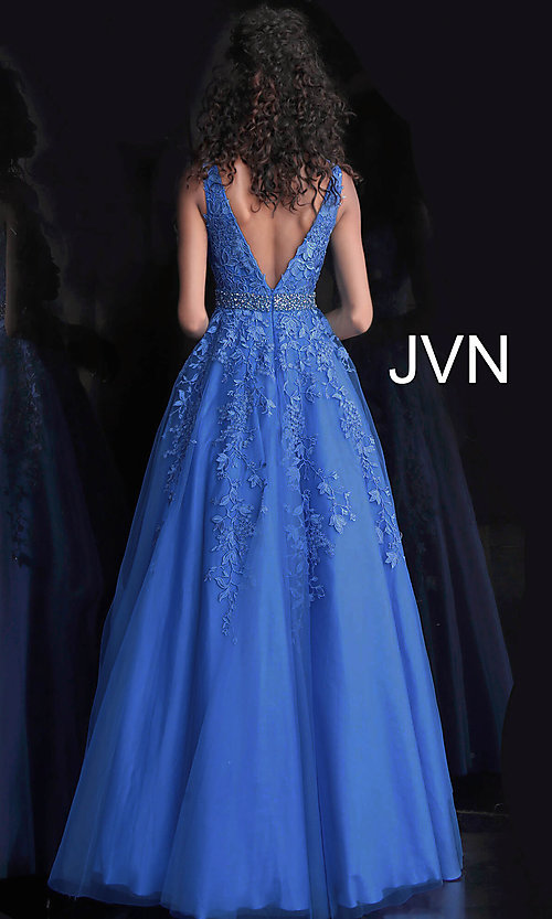 Image of ball-gown-style embroidered-bodice long prom dress. Style: JO-JVN-JVN68258 Back Image