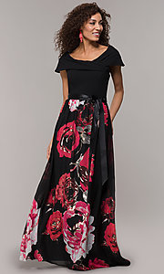 Image of floral-print-skirt long wedding-guest dress. Style: SD-S289481 Front Image
