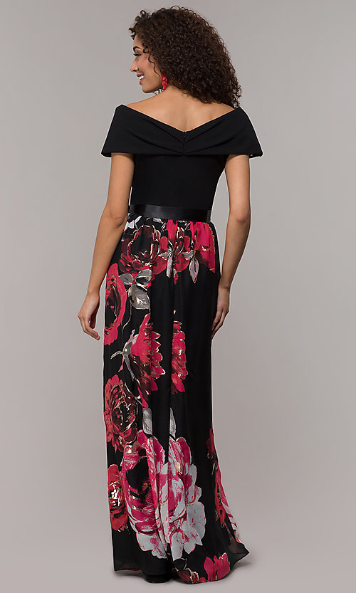 Image of floral-print-skirt long wedding-guest dress. Style: SD-S289481 Back Image