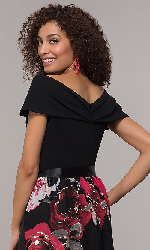 Image of floral-print-skirt long wedding-guest dress. Style: SD-S289481 Detail Image 2