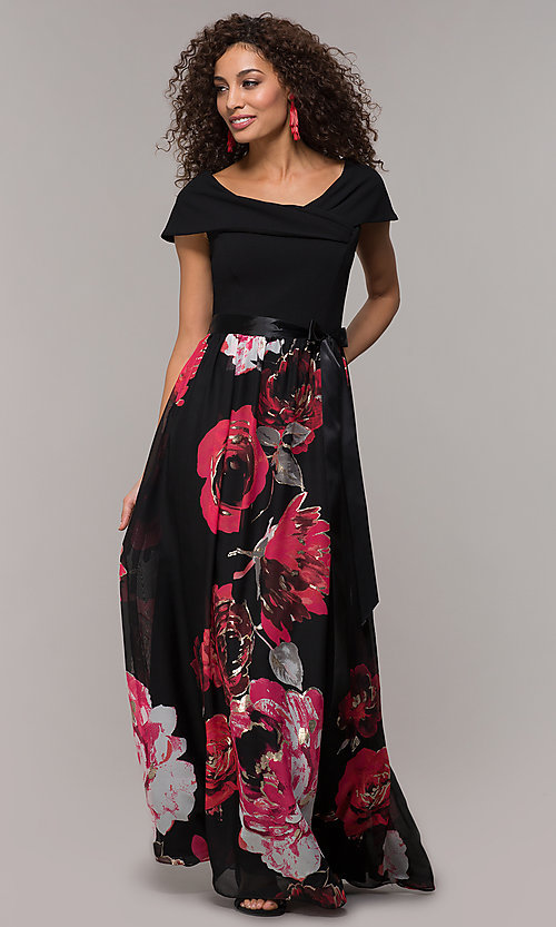 Image of floral-print-skirt long wedding-guest dress. Style: SD-S289481 Detail Image 3