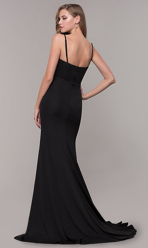 Image of long formal prom dress with illusion slit. Style: FB-GL2670 Detail Image 5