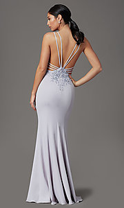 Image of lilac purple long strappy-back formal prom dress. Style: FB-GL2696 Front Image
