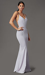 Image of lilac purple long strappy-back formal prom dress. Style: FB-GL2696 Detail Image 1