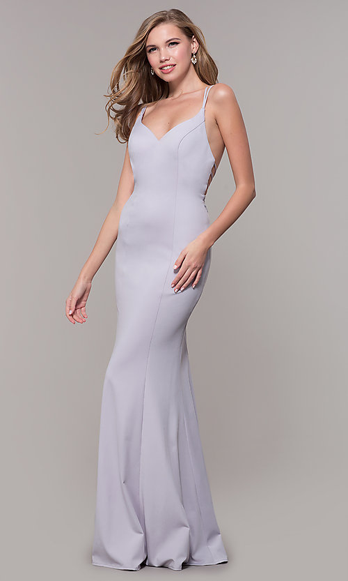 Image of lilac purple long strappy-back formal prom dress. Style: FB-GL2696 Detail Image 3