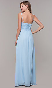 Image of long chiffon formal prom dress with beaded straps. Style: FB-GL2666 Detail Image 5