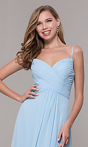 Image of long chiffon formal prom dress with beaded straps. Style: FB-GL2666 Detail Image 6