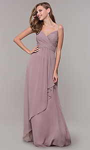 Image of long chiffon formal prom dress with beaded straps. Style: FB-GL2666 Front Image