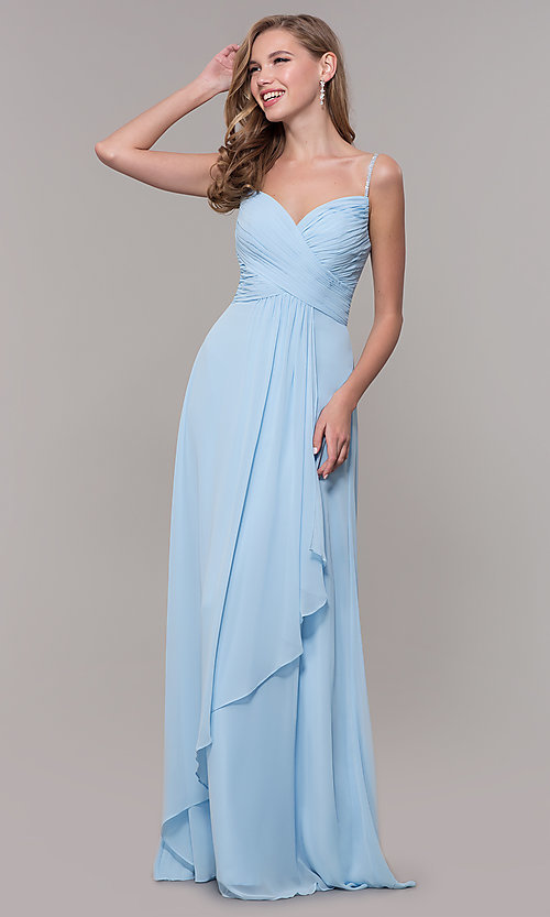 Image of long chiffon formal prom dress with beaded straps. Style: FB-GL2666 Detail Image 4