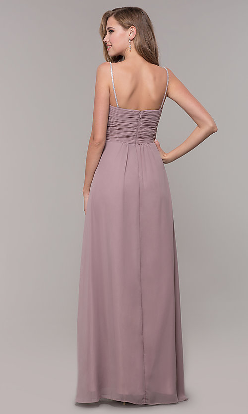 Image of long chiffon formal prom dress with beaded straps. Style: FB-GL2666 Back Image