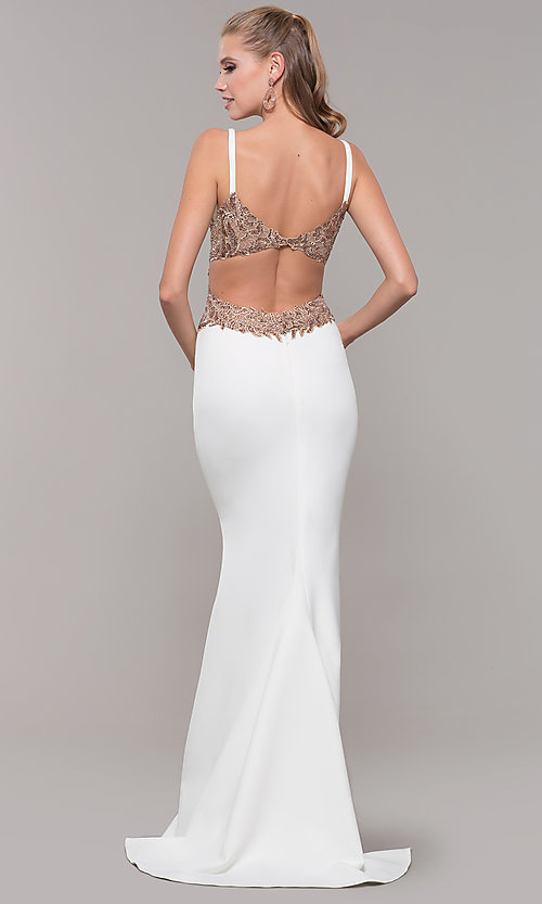 Image of long v-neck Faviana prom dress with embroidery. Style: FA-S10226 Back Image