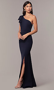 Image of navy one-shoulder pleated ruffle long prom dress. Style: MT-9670 Front Image